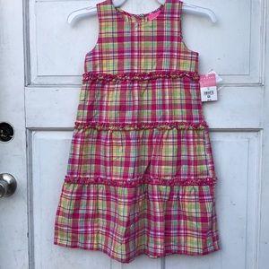 NWT J Khaki Sleeveless Pink Plaid Ruffled Dress 6